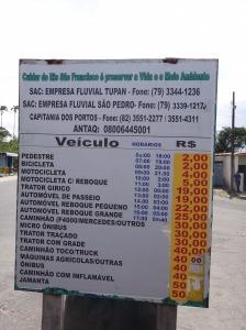 Tabela de preços Balsa em Neópolis - SE