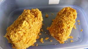 Peixe empanado no sucrilhos